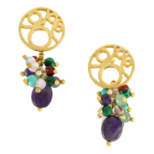 SE451MT Gold Earrings with Mixed Semiprecious Stones