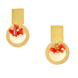 SE456CO Earrings with Mother-of-Pearl and Coral