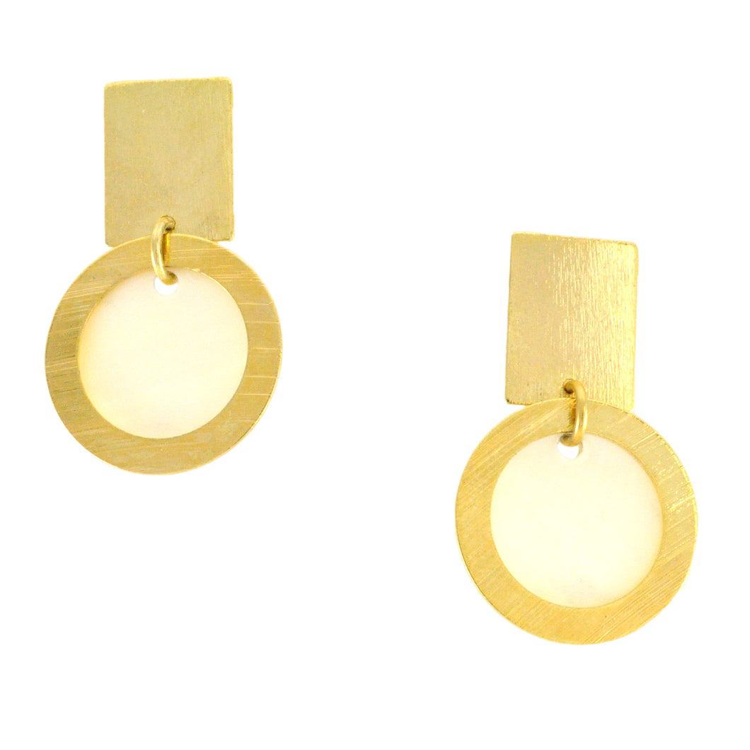SE456 18k Gold Plated Earrings with Mother-of-Pearl Disks