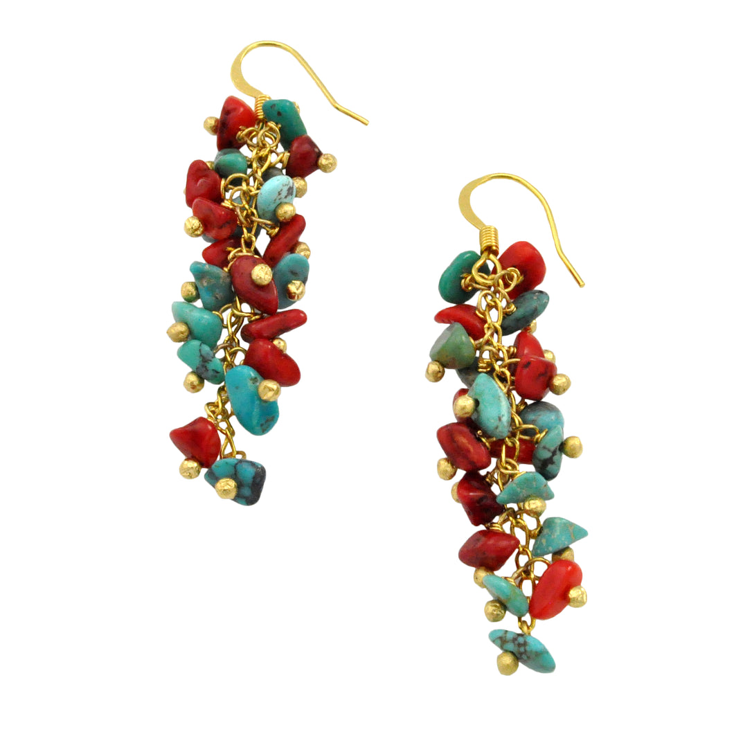 SE472COTQ Grape Cluster Earrings with Coral and Turquoise