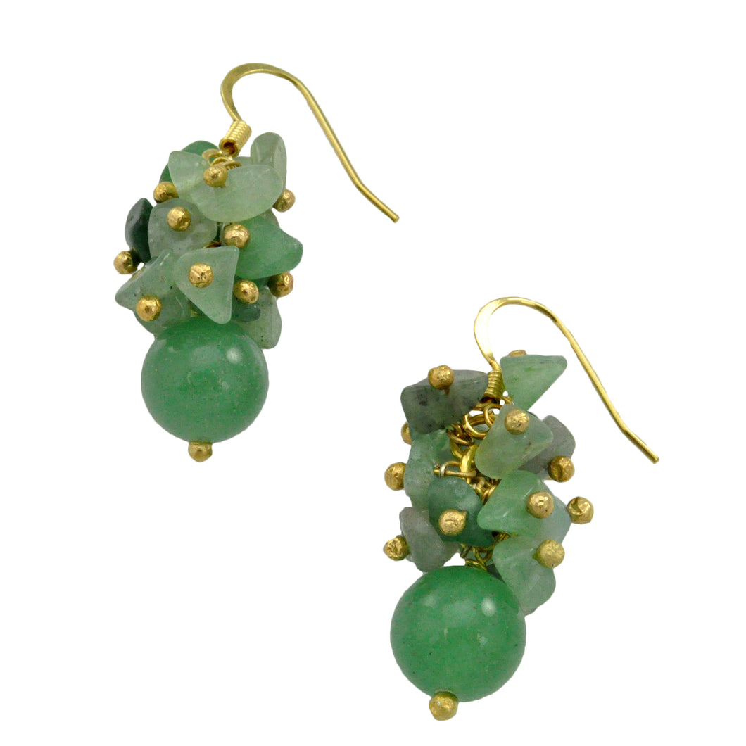SE482GQ 18k Gold Plated Earrings with Green Quartz