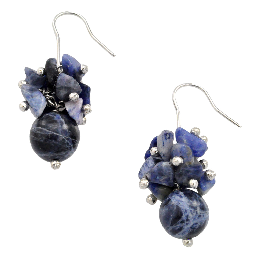 SE482SD 18k Gold Plated Earrings with Sodalite