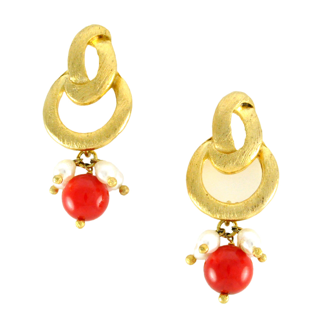 SE483CO Knot Top Earrings with Coral