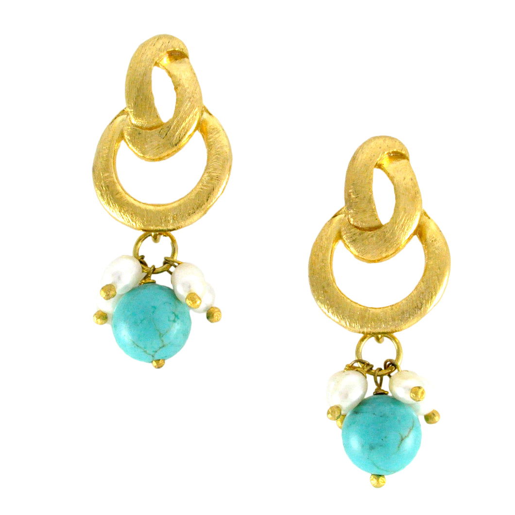 SE483TQ Knot Top Earrings with Turquoise