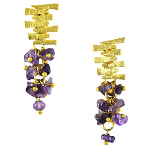 SE547AM Gold Plated Earrings with Amethyst