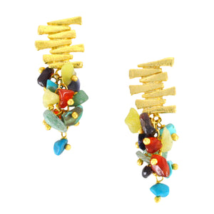 SE547MT Gold Plated Earrings with Mixed Semiprecious Stones