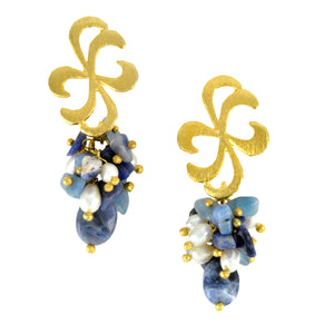 SE587SD 18k Gold Plated Earrings with Sodalite