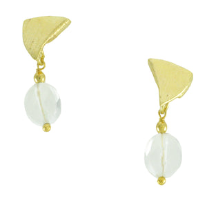 SE590CQ 18k Gold Plated Earrings with Clear Quartz