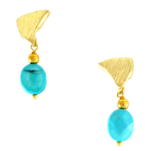SE590TQ 18k Gold Plated Earrings with Turquoise