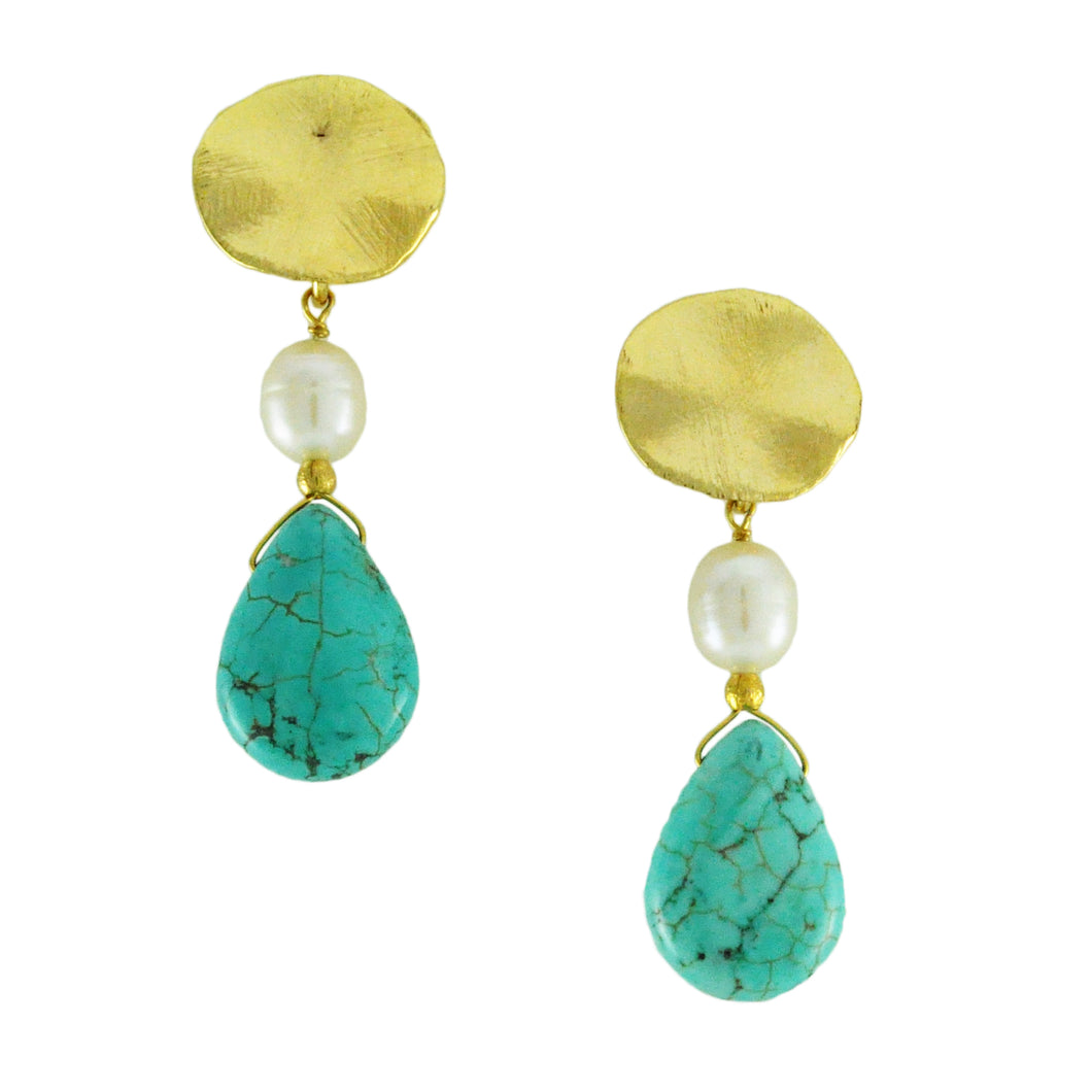 SE591 18k Gold Plated Earrings with Turquoise