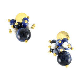 SE596 Sodalite and Pearl Earrings