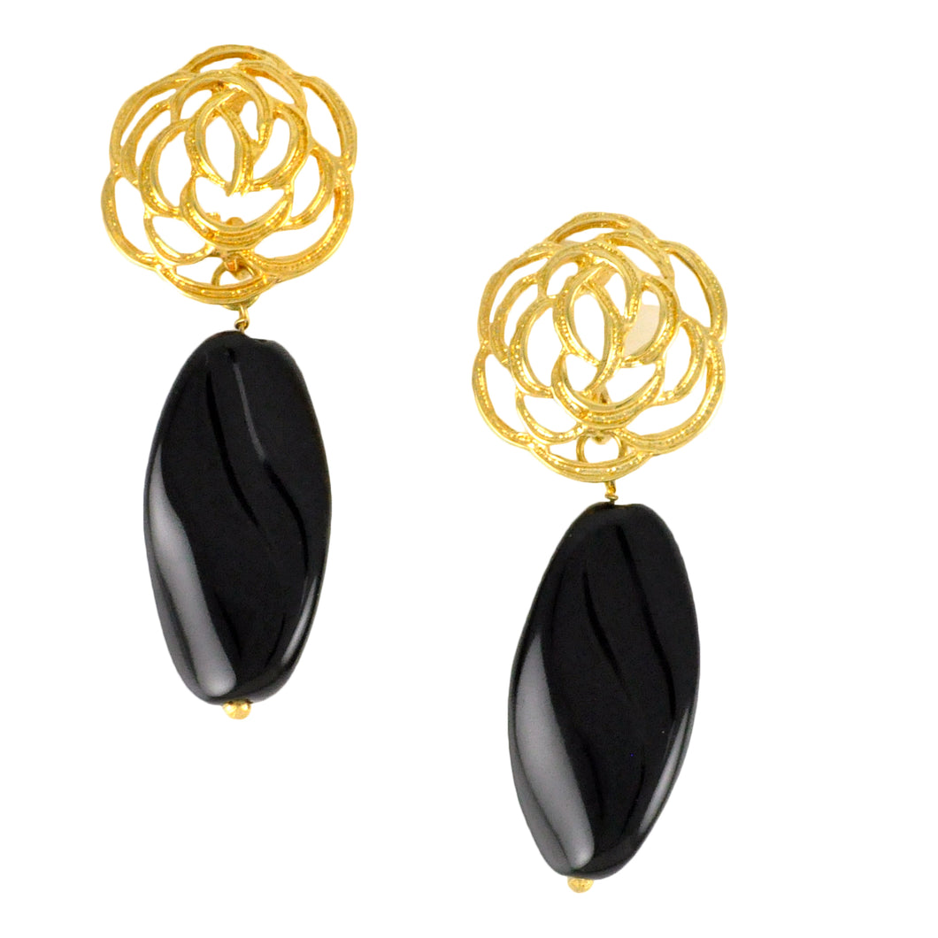 SE598 Onyx and Gold Earrings