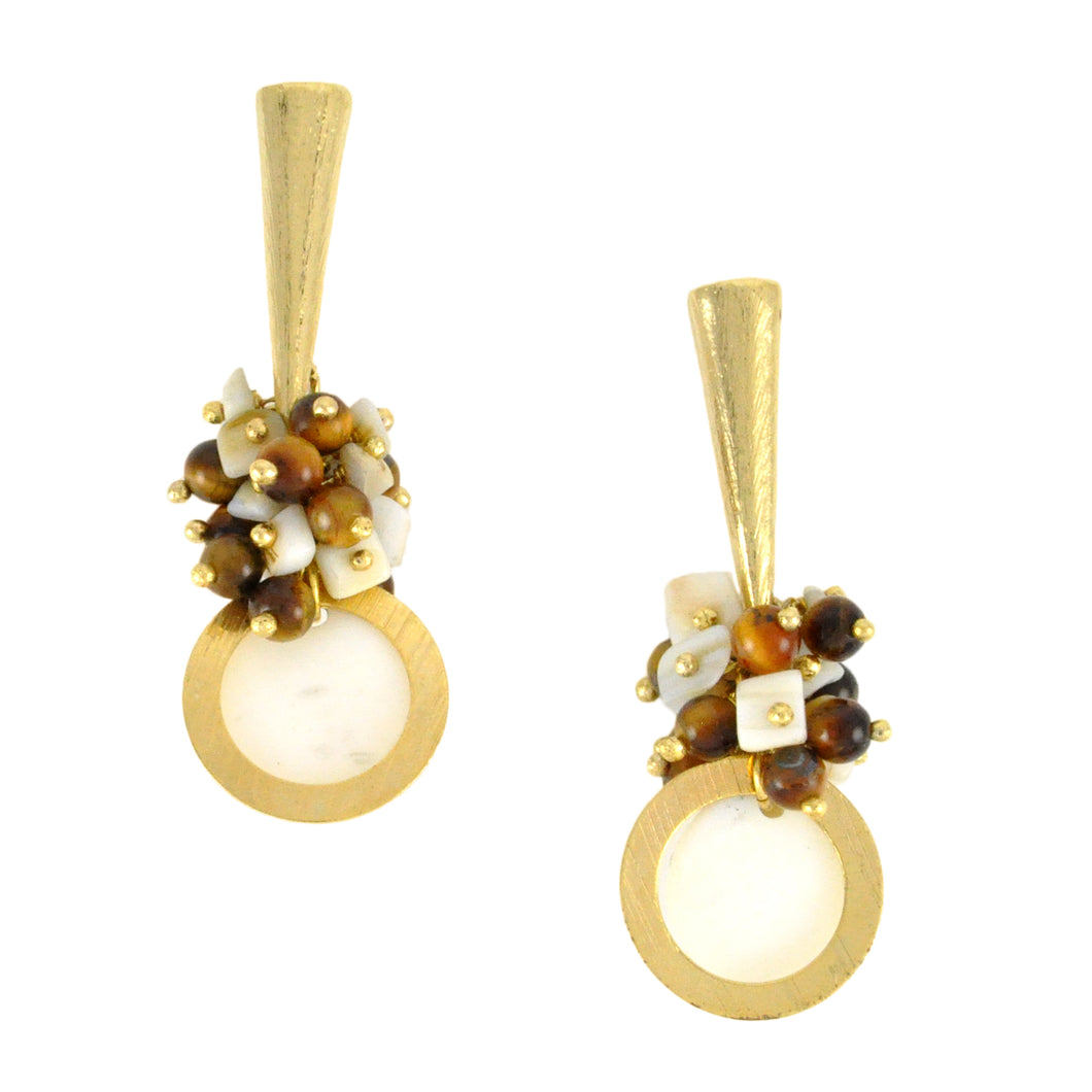 SE603 18k Gold Plated Earrings with Semiprecious Stones