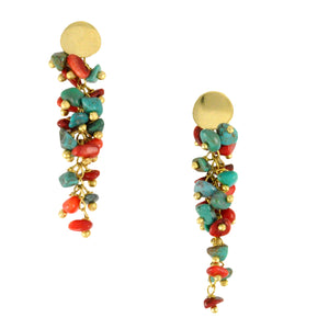 SE607 Earrings with Coral and Turquoise