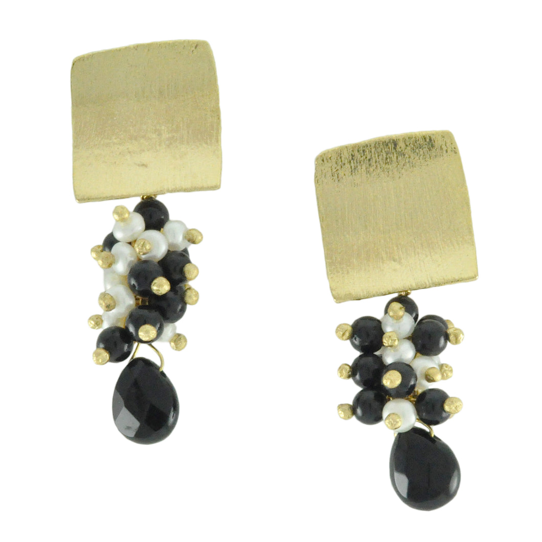 SE638ON 18k Gold Plated Earrings with Onyx