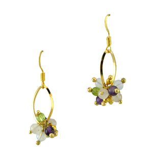 SE641 18k Gold Plated Earrings with Mixed Semiprecious Stone Balls