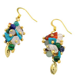 SE642 18k Gold Plated Earrings with Mixed Semiprecious Stones