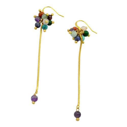 SE643 18k Gold Plated Earrings with Mixed Semiprecious Stones