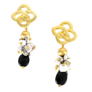 SE644ON 18k Gold Plated Earrings with Onyx and Howlite