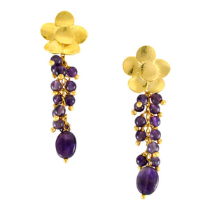 SE665 Amethyst and Gold Earrings