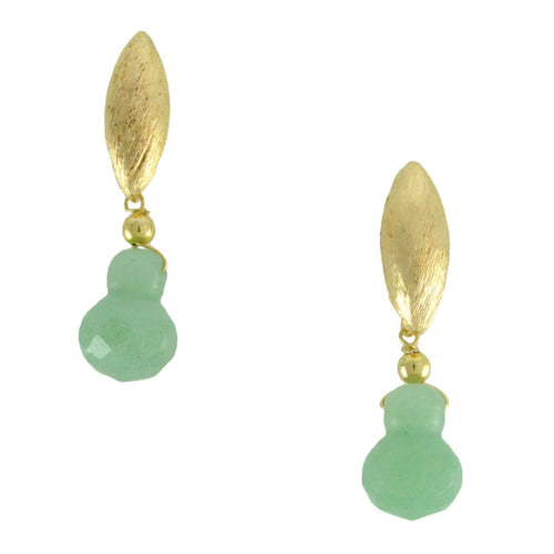 SE667 18k Gold Plated Earrings with Green Quartz