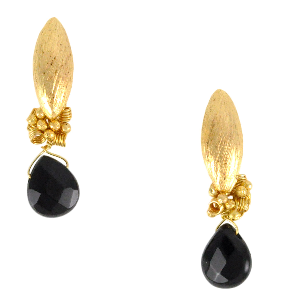 SE669 18k Gold Plated Earrings with Onyx