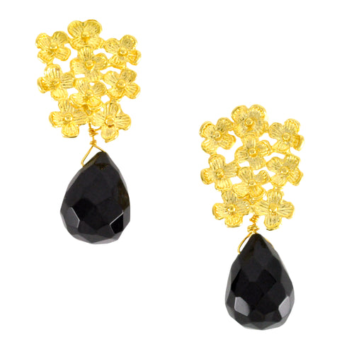 SE671 18k Gold Plated Earrings with Onyx