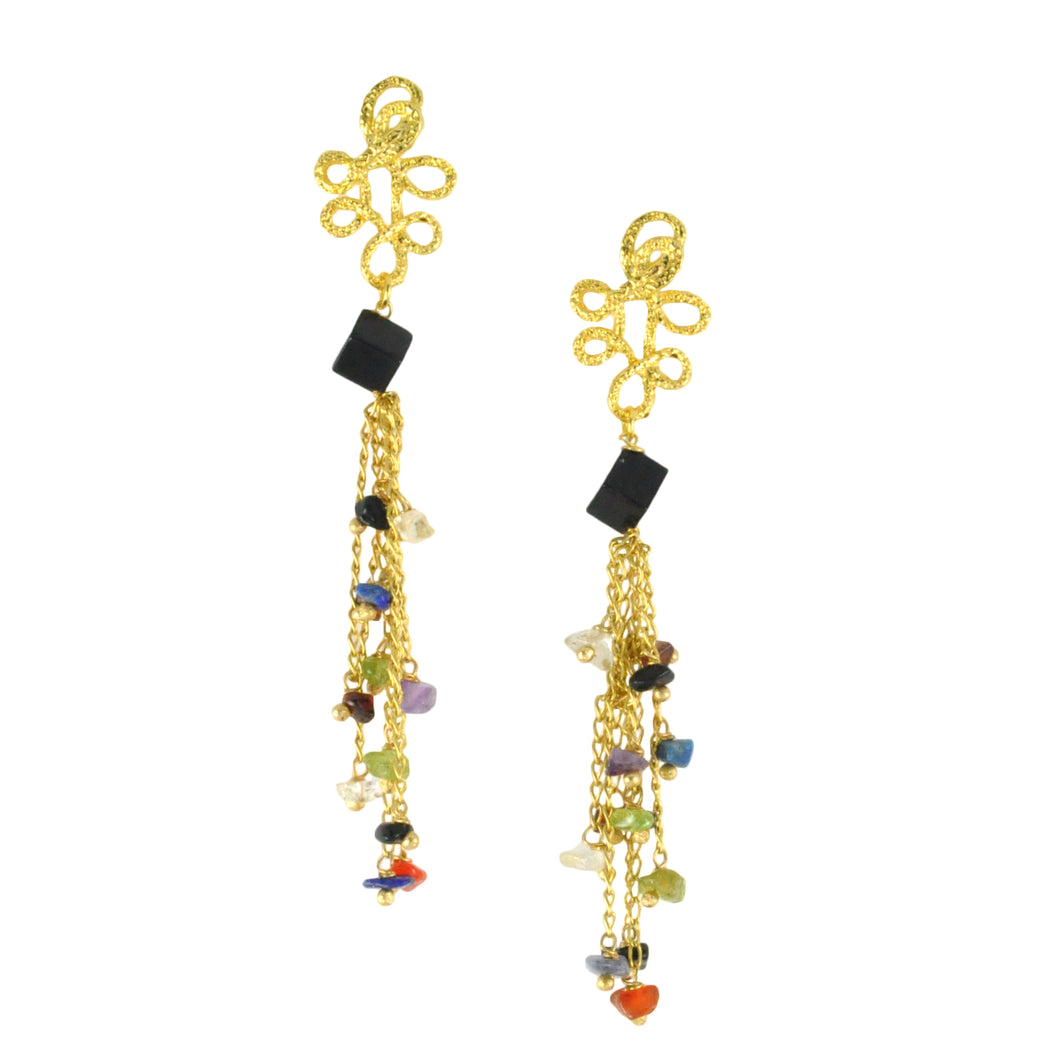 SE703 Stone and Gold Earrings
