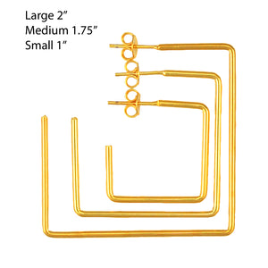 SE708SM 18k Gold Plated Square Hoops