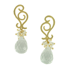 SE739 Clear Quartz and Gold Earrings