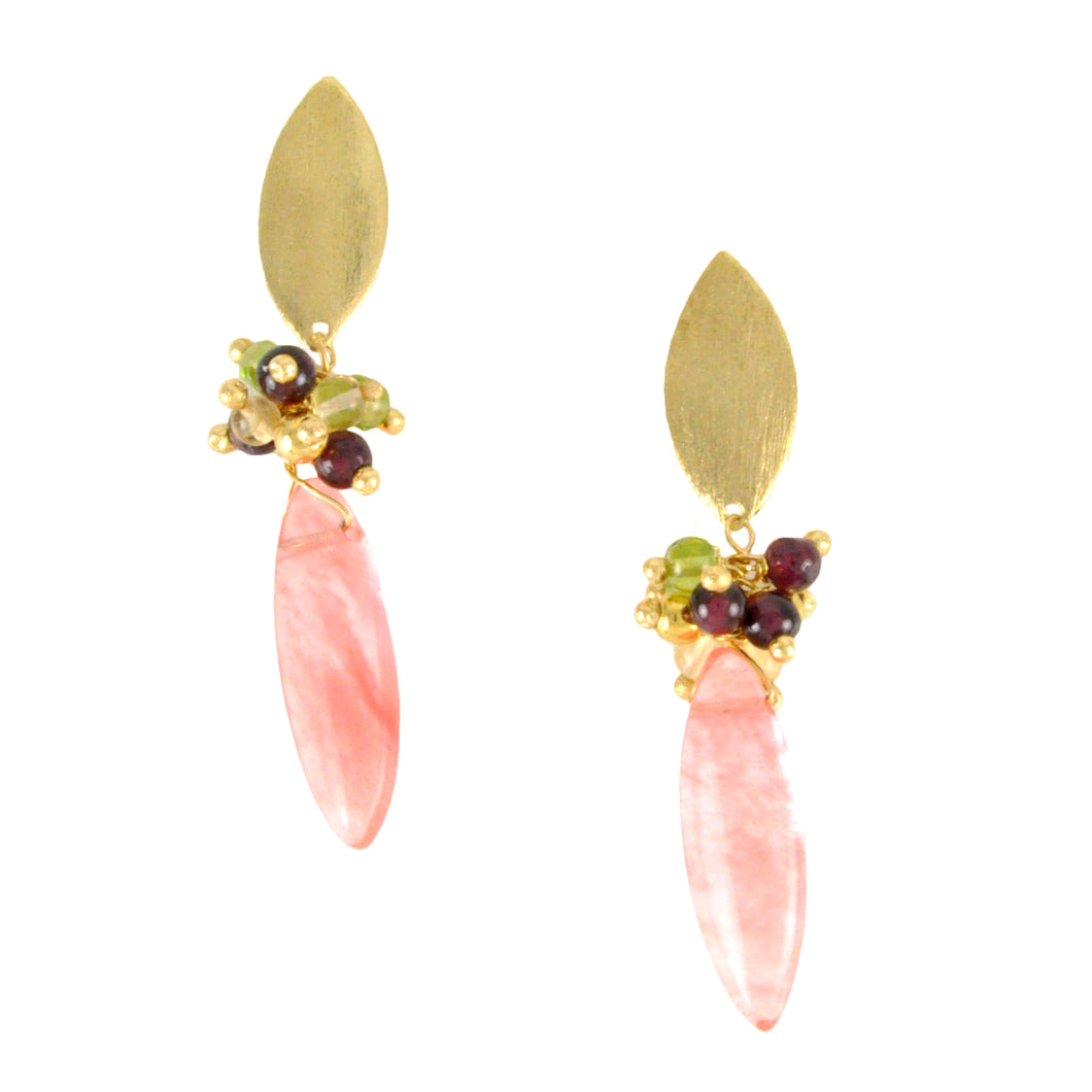 SE740CH Cherry Quartz and Gold Earrings
