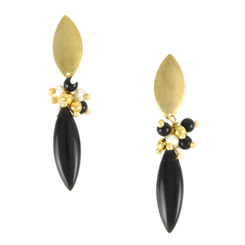 SE740ON Onyx and Gold Earrings