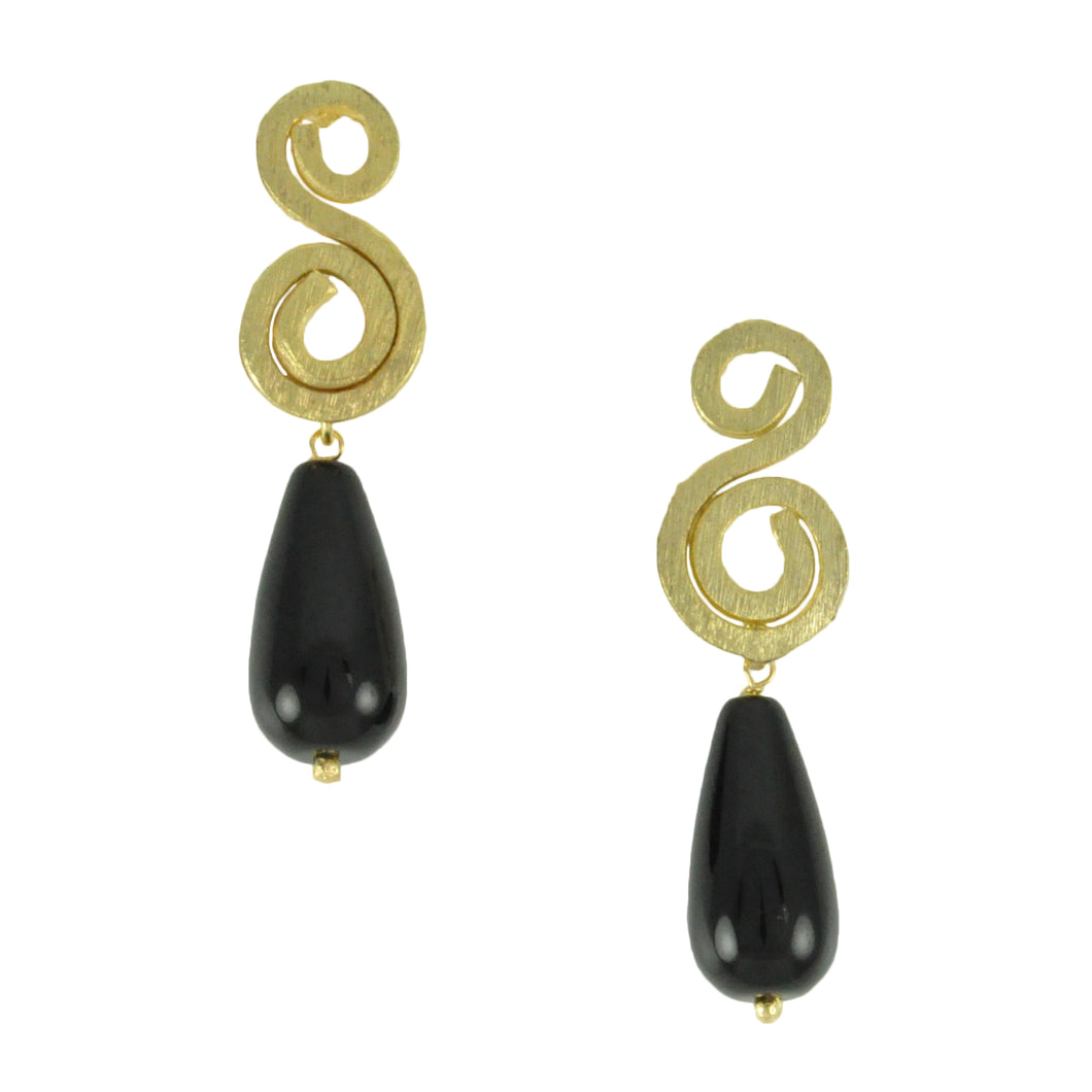 SE742 18k Gold Plated Earrings with Onyx