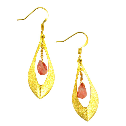 SE746CH Cherry Quartz and Gold Plated Earrings