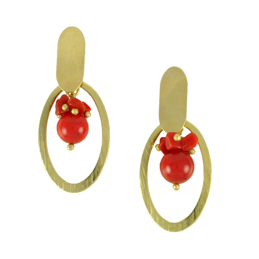 SE748CO Coral and Gold Earrings