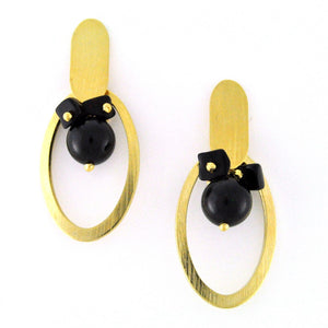 SE748ON Onyx and Gold Earrings