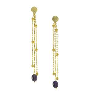 SE749 Gold and Amethyst Earrings
