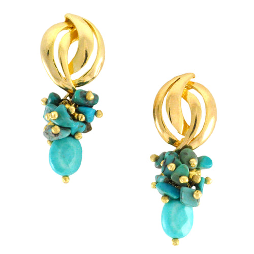 SE752TQ Gold and Turquoise Earrings