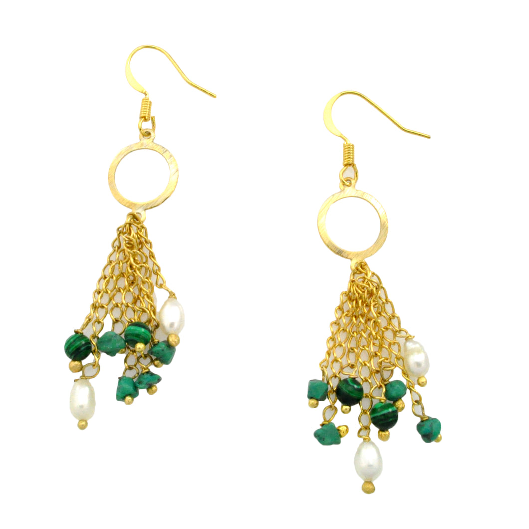 SE754 Malachite and Gold Plated Earrings