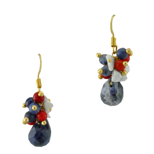 SE755 18k Gold Plated Earrings with Mixed Semiprecious Stone Balls