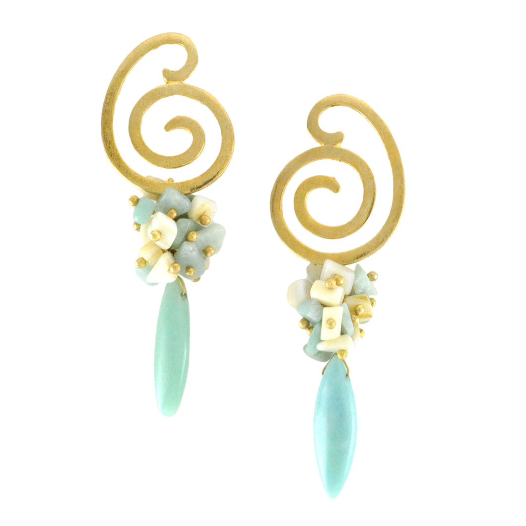 SE756AZ Gold and Amazonite Earrings