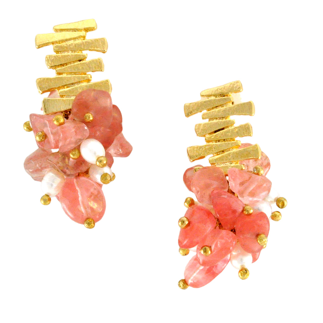 SE758CH Gold and Cherry Quartz Earrings