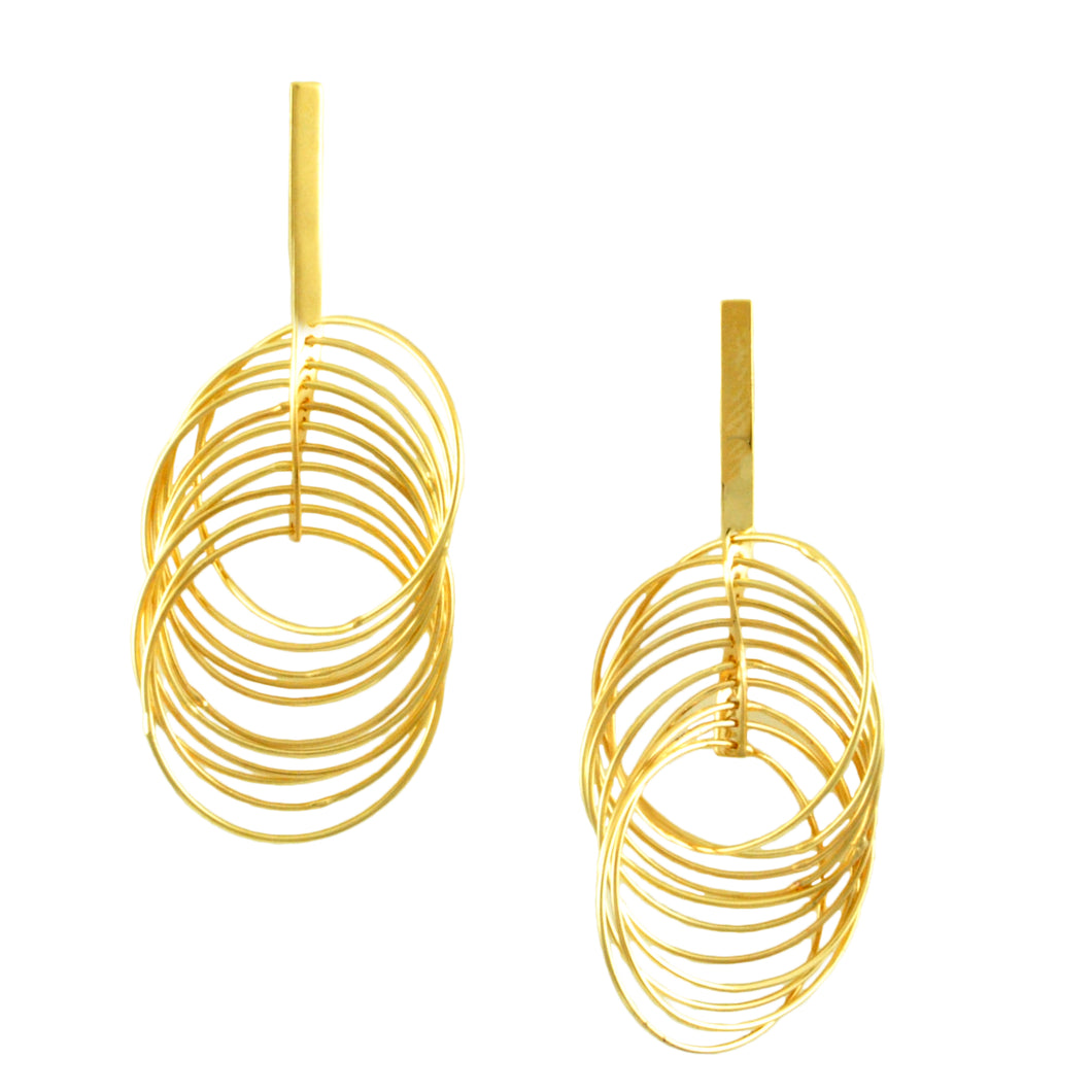 SE772SM Many-Looped Gold Earrings
