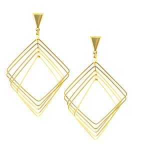 SE776 Many-Looped Plated Square Earrings