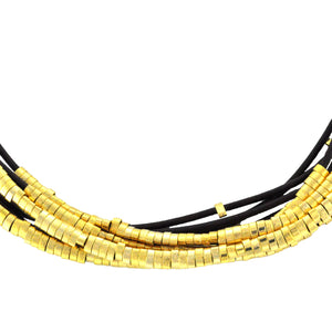 SN140A Brown Leather Necklace with Gold