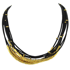 SN140B Black Leather Necklace with Gold