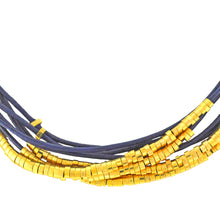 Load image into Gallery viewer, SN140D Blue Leather Necklace with Gold