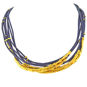 SN140D Blue Leather Necklace with Gold