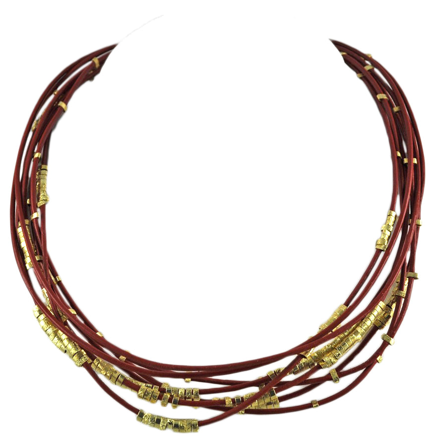 SN140E Terra-Cotta Leather Necklace with Gold