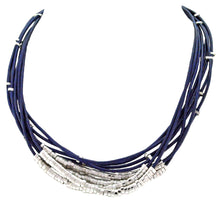 Load image into Gallery viewer, SN140RC Blue Leather Necklace with Rhodium